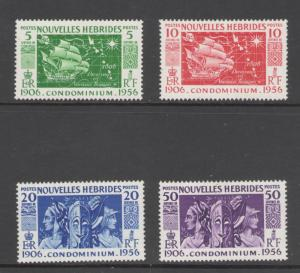 French New Hebrides 1956 Anniversary of Condominium Scott # 94 - 97 MH
