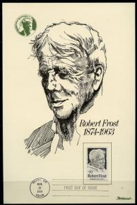 US 1974 ROBERT FROST  FLEETWOOD POSTAL PEOPLE FIRST DAY PRESENTATION CARD