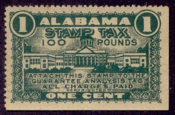 Alabama State Revenue Stamp 1c Feed Tax # F54