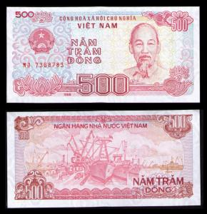 VIETNAM 1988, 500 DONG OLD BANKNOTE CRISP UNCIRCULATED PAPER MONEY KP CAT #101