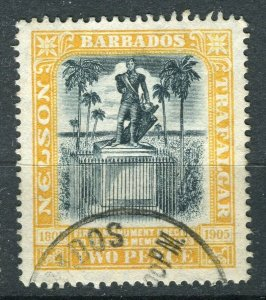 BARBADOS; 1906 early Nelson Centenary issue fine used 2d. value