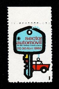 POSTER STAMP SECTOR AUTOMÓVIL 1968 BARCELONA OFFICIAL TRADE FAIR MNH-OG
