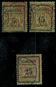 Guadeloupe 1889 SC 3-5 Used SCV $60.00 Set