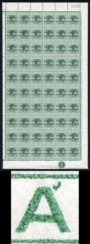 Bahamas KGVI SG162c 1/2d Columbus Variety Accent Flaw (R1/5 1938 printing only)b