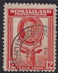 Somaliland 1942 KGV1 12 Annas Red Orange used SG 112 ( K566 )
