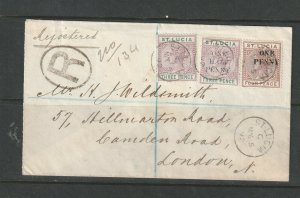 St Lucia 1892 Cover to UK, with QV 3d & 2 Opts, 1/2d on 3d & 1d on 4d, small St