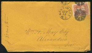 US #65 EARLY  COVER, F/VF stamp,  very RARE stamp is VF, Bold FANYC CORK CANC...