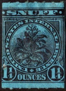 Snuff Tax Stamp: 1¼ Ounce: Series 108 Used