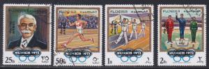 Fujeira M # 533-536, Olympic Committee Anniversary Overprinted. CTO