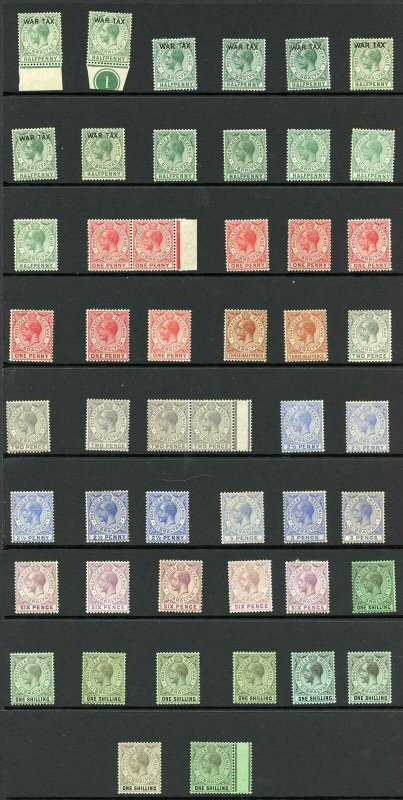 Gibraltar KGV Selection of value to 1/- not checked for wmks or shades M/M (50 s