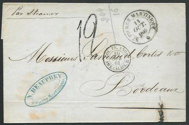 MARTINIQUE 1861 folded cover ex ST PIERRE to Bordeaux......................61938