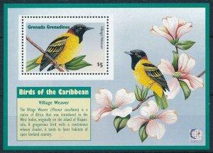 [108796] Grenada Grenadines 1995 Birds vögel Village Weaver Flora Sheet MNH