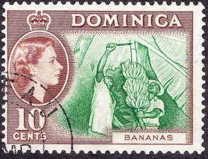DOMINICA 1957 QEII 10 Cents Green & Brown SG150 FU