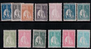 Portugal 1923-1926 SC 298I-298U H,LH CV$1023.00 Ceres Glazed