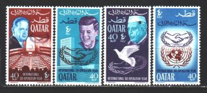 Qatar. 1966. 114-17. 20 years of the United Nations, Kennedy, Nehru, dove. MNH.
