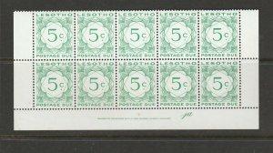 Lesotho Postage due 1976 5c wmked, Variety Serif on O, block 10 UM/MNH SG D18