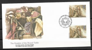 1985 Great Britain 1118 The Knights of the Round Table gutter pair FDC