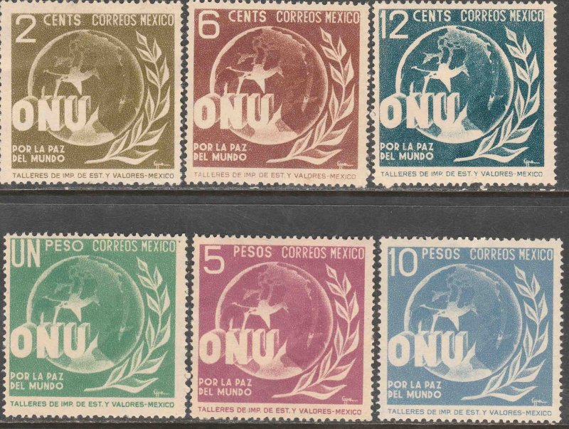 MEXICO 813-818, Honoring the United Nations. MINT, NEVER HINGED. VF.