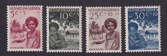 Netherlands New Guinea    #B11-B14   MNH 1957  Papua children beach