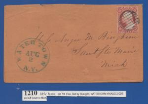 *US 19th Century Cover Scott #10A Tied By Blue Grid Cxl, Watertown, NY 8-2-1851