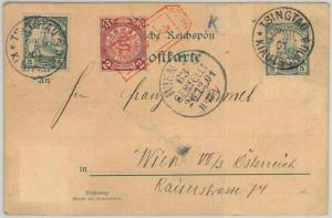 GERMAN CHINA: Kiautschou -  POSTAL HISTORY - STATIONERY CARD to AUSTRIA 1901