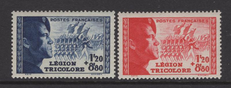 France 1942 Semi-Postal Stamps Tricolor Legion Set Scott B147-B148 MH