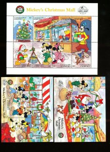 DOMINICA - Scott 1131-1133  VFMNH - DISNEY - Mickey Mouse Christmas Mall - 1988