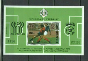 F981 PARAGUAY FOOTBALL WORLD CUP ARGENTINA 78 SPAIN 82 MICHEL 25 EURO BL343 MNH