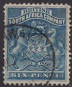 British South Africa Company 1892 - 93 QV 6d Deep Blue used SG 3 ( 110 )