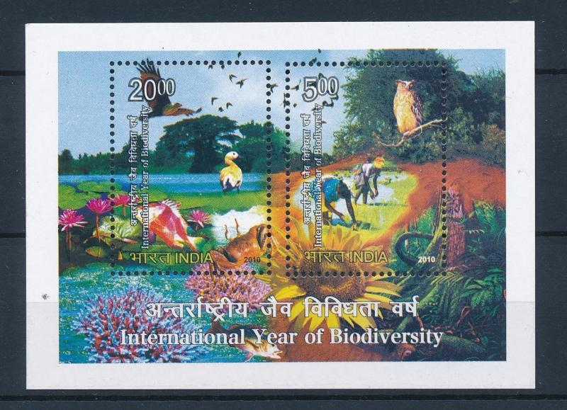 [38169] India 2010 Birds Vögel Oiseaux Biodiversity Owl Flowers MNH Sheet