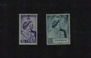 Cyprus: 1949 Royal Silver Wedding, Mint lightly hinged