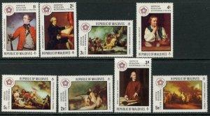 MALDIVE IS. Sc#622-630 1976 American Bicentennial Complete Set & S/S OG Mint NH