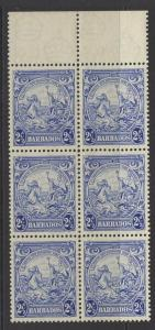 BARBADOS SG251x3, 251ax3 1938 2½d MARK ON CENTRAL ORNAMENT(x3) IN MNH BLOCK OF 6