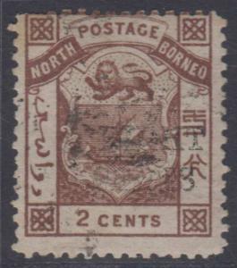 BC NORTH BORNEO 1886 Sc 10 PERF 14 SCV$42.50