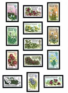 Falkland Is 210-22 MNH 1973 Flowers