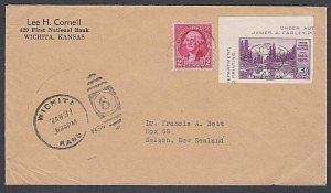 USA 1936 cover Wichita to New Zealand - 3c imperf Mt Rainier + 2c ..........J877