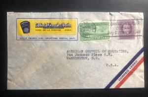 1940 Habana Cuba Commercial Airmail cover to Washington DC USA