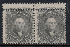 USA #78b Mint Double Perforation Pair Variety **With Certificate**