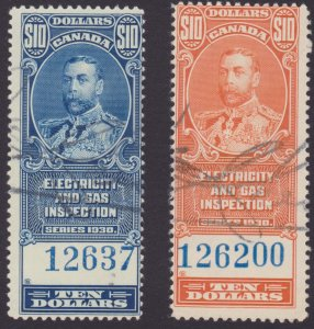 Canada Electricity and Gas Inspection revenue stamps - same signature