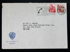 Warner Bros. Geneve 1946 20eme Anniversaire Cover - Slogan Cancel Sc # 230B, 243