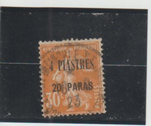 French Offices in Turkey (Levant)  Scott#  45  Used  (1921 Surcharged)