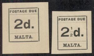 MALTA #J4-5 Mint Hinged, Scott $14.50