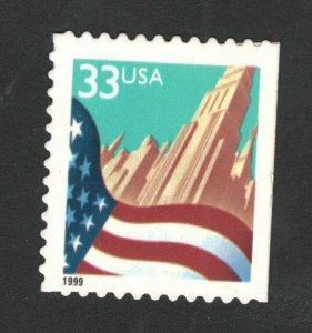 3278F Flag & City (Black Date) Single Mint/nh (Free Shipping)