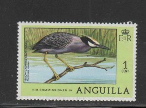 ANGUILLA #275  1977  1c  YELLOW-COWNED NIGHT HERON     MINT VF NH  O.G