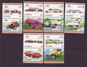 J24521 JLstamps 1983 st vincent specimen set pairs mnh #687-92 cars autos