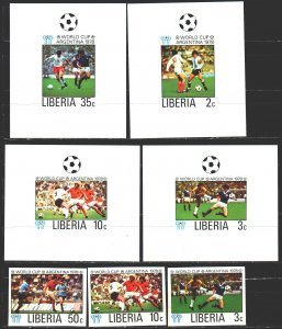 Liberia. 1978. 1061B-66B, bl90B + 6 suites. Football. MNH.