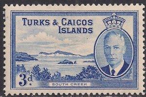 Turks & Caicos 1950 KGV1 3d Bright Blue South Creek MM SG 226 ( K1477 )