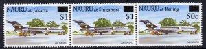 Nauru 1995 Stamp Exhibitions surcharged strip of 3 unmoun...