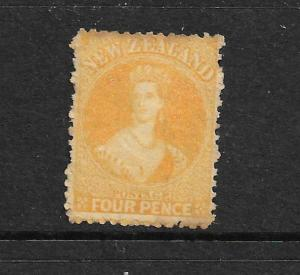 NEW ZEALAND 1873  4d  ORANGE YELLOW   FFQ  MNG   NO WMK CP A4C   SG 139 CHALON