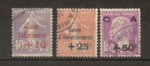 France 1928 Sinking Fund SG466-468 Fine Used Cat£100